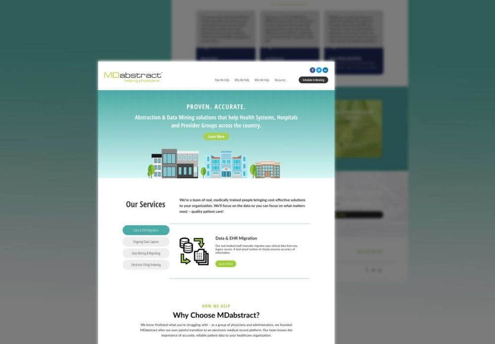 website mockup of MDabstract.com managed by Tyler Thompson